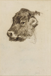 JOHN HENRY TWACHTMAN (American 1853-1902) Study of a Cow's Head Pencil on laid paper 14-1/2 x 12