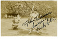 Autographs:Photos, 1930's Babe Ruth Signed Photograph. Scarce image pictures the Babe as a member of the American squad while on the famous 193...