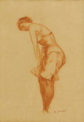 Fine Art - Painting, American, EVERETT SHINN (American 1876-1953). Untitled, SilkStockings. Conte crayon on paper. 16-1/4 x 14 inches (41.3 x35.7 cm)...