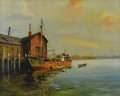 Fine Art - Painting, American:Contemporary   (1950 to present)  , J. J. ENWRIGHT (American 1905 - 2001). Untitled, Dock. Oilon canvas. 24 x 30 inches (61.0 x 76.2 cm). Signed lower left...