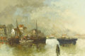Paintings, ROELEF DOZEMAN (Dutch b.1924). Boats in the Harbour. Oil on original unlined canvas. 24 x 36 inches (61.0 x 91.4 cm). Si...