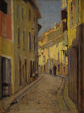Fine Art - Painting, European:Modern  (1900 1949)  , VINCENT MANAGO (French 1880-1936). A City Passage. Oil on board. 13-1/2 x 10-1/4 inches (34.3 x 26.0 cm). Signed lower l...
