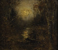Fine Art - Painting, American:Antique  (Pre 1900), Attributed to HOMER DODGE MARTIN (American 1836-1897). MoonlightReflecting on Water. Oil on canvas laid on board. 13-1/...