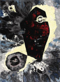 Fine Art - Painting, American:Contemporary   (1950 to present)  , EMIL BISTTRAM (American 1895-1976). Cosmic Forces No. 11,1959. Deco on canvas. 48-1/4 x 36 inches (122.6 x 91.4 cm). Si...