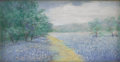 Texas:Early Texas Art - Impressionists, JANET DOWNIE (1854-1944). Untitled Bluebonnet. Pastel on paper.3-1/2 x 6 inches (8.9 x 15.2 cm). Janet Downie Studio label ...
