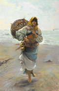 Fine Art - Painting, European:Contemporary   (1950 to present)  , M. SALAS (Spanish). Portrait of a Gypsy Girl with Sack. Oilon original unlined canvas. 36-1/2 x 24 inches (92.7 x 61.0 ...