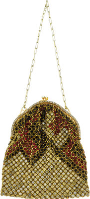 Rhinestone, Yellow Metal Evening Bag  The purse features round-shaped rhinestones in red, black, and white, set in a yel...