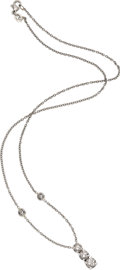 Estate Jewelry:Necklaces, Diamond, Platinum Necklace. The necklace features a pendant,enhanced by graduated round brilliant-cut diamonds, weighing ...(Total: 1 Item)