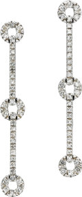 Estate Jewelry:Earrings, Diamond, White Gold Earrings. Each earring features full-cutdiamonds, set in 14k white gold. Total diamond weight is appr...(Total: 1 Item)