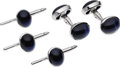 Estate Jewelry:Cufflinks, Sapphire, White Gold Dress Set, Aletto Bros.. The set includes: one pair of cuff links featuring oval-shaped sapphire cabo... (Total: 1 Item)