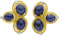 Estate Jewelry:Earrings, Sapphire, Diamond, Gold Earrings, Aletto Bros.. Each earringfeatures oval-shaped sapphire cabochons, set in 18k yellow go...(Total: 1 Item)