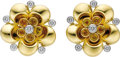 Estate Jewelry:Earrings, Yellow Sapphire, Diamond, Platinum, Gold Earrings, Aletto Brothers.Each earring, designed as a flower, features round-cut... (Total: 1Item)