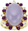 Estate Jewelry:Rings, Lavender Jade, Diamond, Amethyst, Gold Ring. The ring features an oval-shaped lavender jade cabochon measuring 18.00 x 13.... (Total: 1 Item)
