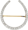 Estate Jewelry:Brooches - Pins, Diamond, Platinum, Gold Brooch. The brooch, designed as a horseshoe, features European and mine-cut diamonds, set in plati... (Total: 1 Item)