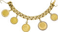 Estate Jewelry:Bracelets, Gold Coin, Gold Bracelet. The 18k yellow gold link braceletsuspends five gold coins: two Mexican Diez Pesos gold coins, b...(Total: 1 Item)