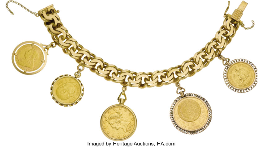 Estate Jewelry Bracelets Gold Coin Bracelet The 18k Yellow Link