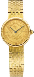 Timepieces:Wristwatch, Corum Lady's Diamond, $5 Gold Coin, Gold Integral Bracelet Watch, Modern. Case: 24 mm, 18k yellow gold case with beaded be... (Total: 1 Item)