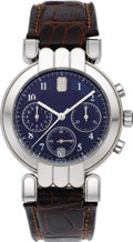 Timepieces:Wristwatch, Harry Winston Men's White Gold, Leather Strap Automatic ChronographWristwatch, No. 192, modern. Case: 35 mm, round, 18k w... (Total: 1Item)