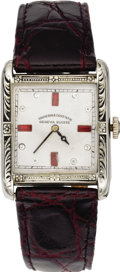 Timepieces:Wristwatch, Vacheron Constantin Men's Platinine, Leather Strap Wristwatch,circa 1920. Case: 34 x 26 mm, hinged, square platinine comp...(Total: 1 Item)