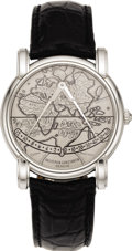 "Timepieces:Watch Chains & Fobs, Vacheron & Constantin Men's Platinum, White Gold ""Gerard Mercator 1594 - 1994"" Leather Strap Wristwatch, circa 1994. Case:... (Total: 1 Item)"