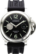 "Timepieces:Wristwatch, Panerai Men's Stainless Steel ""Luminor Marina"" Automatic Date, Rubber Strap, Special Edition Wristwatch, circa 2001. Case... (Total: 1 Item)"