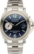 "Timepieces:Wristwatch, Panerai Men's Stainless Steel Luminor ""Montecarlo"" Automatic Date,Special Limited Edition Bracelet Wristwatch, circa 2000. ...(Total: 1 Item)"