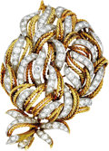 Estate Jewelry:Brooches - Pins, Diamond, Gold Pendant-Brooch. The pendant-brooch, designed as a flower, features full-cut diamonds weighing a total of app... (Total: 1 Item)