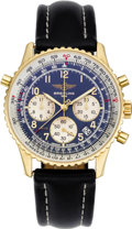 "Timepieces:Wristwatch, Breitling Men's Gold, ""Navitimer Rattrapante Etanche"" Leather Strap Limited Edition Wristwatch, circa 2000. Case: 37 mm, r... (Total: 1 Item)"