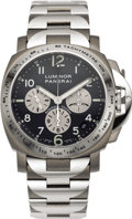 Timepieces:Wristwatch, Panerai Men's Titanium and Stainless Steel Luminor Automatic Chronograph Limited Edition Bracelet Wristwatch, circa 1999. ... (Total: 1 Item)