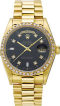 Timepieces:Wristwatch, Rolex Men's Diamond, Gold Oyster Perpetual Day-Date Men'sWristwatch, circa 1979. Case: 36 mm 18k yellow gold case with fi...(Total: 1 Item)