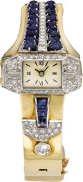 Timepieces:Wristwatch, Swiss Lady's Diamond, Sapphire, Platinum, Gold Bracelet Watch,circa 1940. Case: 24 x 12 mm, elongated octagonal-shaped pl...(Total: 1 Item)