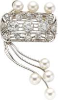 Estate Jewelry:Brooches - Pins, Diamond, Cultured Pearl, White Gold Brooch. The brooch features European and mine-cut diamonds weighing a total of approxi... (Total: 1 Item)