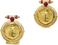 Estate Jewelry:Earrings, Diamond, Ruby, Gold Coin, Gold Earrings. Each earring features aU.S. $5 Liberty gold coin, enhanced by oval-shaped ruby c...(Total: 1 Item)