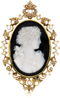 Estate Jewelry:Brooches - Pins, Victorian Onyx Cameo, Half-Pearl, Pearl, Gold Pendant-Brooch. The pendant-brooch features an oval-shaped banded onyx cameo... (Total: 1 Item)