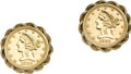 Estate Jewelry:Cufflinks, Gold Coin, Gold Cuff Links. Each cuff link features a United States$5 Liberty gold coin, dated 1882, resting in a 14k yel... (Total: 1Item)