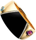 Estate Jewelry:Bracelets, Amethyst, Blue Topaz, Diamond, Gold Bracelet. The hinged bangle features an oval-shaped amethyst weighing approximately 4.... (Total: 1 Item)