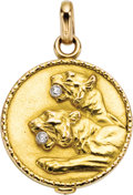 Estate Jewelry:Pendants and Lockets, Diamond, Gold Locket. The locket depicts two lion heads, enhancedby single-cut diamonds weighing a total of approximately... (Total:1 Item)