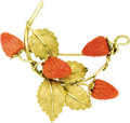 Estate Jewelry:Brooches - Pins, Coral, Gold Brooch. The brooch features carved coral strawberries, enhanced by textured 18k yellow gold leaves. A pinstem... (Total: 1 Item)