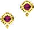 Estate Jewelry:Earrings, Rubellite Tourmaline, Gold Earrings, Maya Neiman's. ... (Total: 2Items)