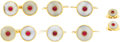 Estate Jewelry:Cufflinks, Gentleman's Ruby, Chalcedony, Gold Dress Set. The set includes: onepair of cuff links, each featuring a ruby cabochon, be... (Total: 1Item)