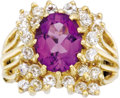 Estate Jewelry:Rings, Amethyst, Diamond, Gold Ring. The ring features an oval-shaped amethyst measuring 10.00 x 8.00 x 5.00 mm and weighing appr... (Total: 1 Item)