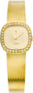 Timepieces:Wristwatch, Concord Lady's Diamond, Gold Integral Bracelet Watch, circa 1990. Case: 20 mm, cushion-shaped 18k yellow gold with diamond... (Total: 1 Item)
