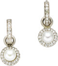 Estate Jewelry:Earrings, Freshwater Cultured Pearl, Diamond, White Gold Earrings, LoriRodkin. Each huggy-style earring features full-cut diamonds,...(Total: 1 Item)