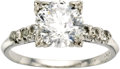 Estate Jewelry:Rings, Diamond, Platinum Ring. The ring features a round brilliant-cut diamond measuring 7.70 - 7.65 x 4.90 mm and weighing appro... (Total: 1 Item)