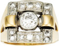 Estate Jewelry:Rings, Diamond, Platinum, Gold Ring. The ring features a European-cutdiamond weighing approximately 0.55 carat, enhanced by full...(Total: 1 Item)
