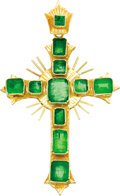 Estate Jewelry:Pendants and Lockets, Emerald, Gold Cross Pendant. The pendant, designed as a cross,features emerald-cut emeralds weighing a total of approxima...(Total: 1 Item)