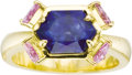 Estate Jewelry:Rings, Sapphire, Gold Ring. The ring features a hexagonal-shaped blue sapphire weighing approximately 4.00 carats, enhanced by tr... (Total: 1 Item)