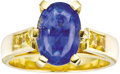 Estate Jewelry:Rings, Sapphire, Gold Ring. The ring features an oval-shaped blue sapphiremeasuring 11.40 x 7.75 x 7.25 mm and weighing approxim... (Total: 1Item)