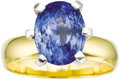 Estate Jewelry:Rings, Sapphire, Gold Ring. The ring features an oval-shaped sapphiremeasuring 11.15 x 8.65 x 7.35 mm and weighing approximately...(Total: 1 Item)