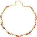 Estate Jewelry:Necklaces, Multi-Color Sapphire, Gold Necklace. The necklace features heart-shaped sapphires alternating in various colors including:... (Total: 1 Item)